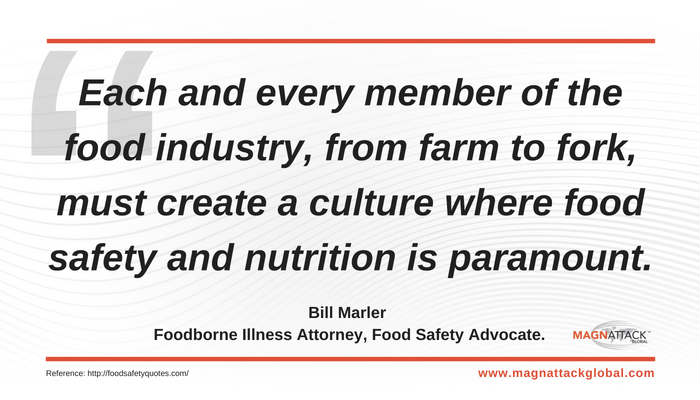 Food Safety & Nutrition Is Paramount - Bill Marler Quote - Magnattack Global Food Safety Quote