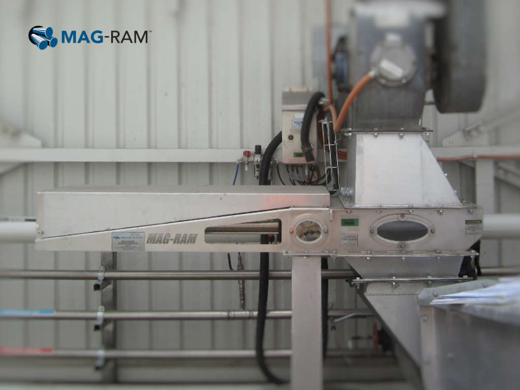 Mag-Ram Self Cleaning Separator installed in a pet food line.