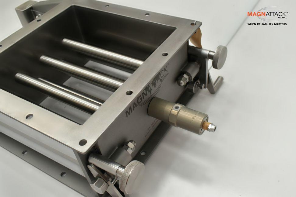 A Magnattack Rapidclean Grate Magnet with vibrating motor retrofit.
