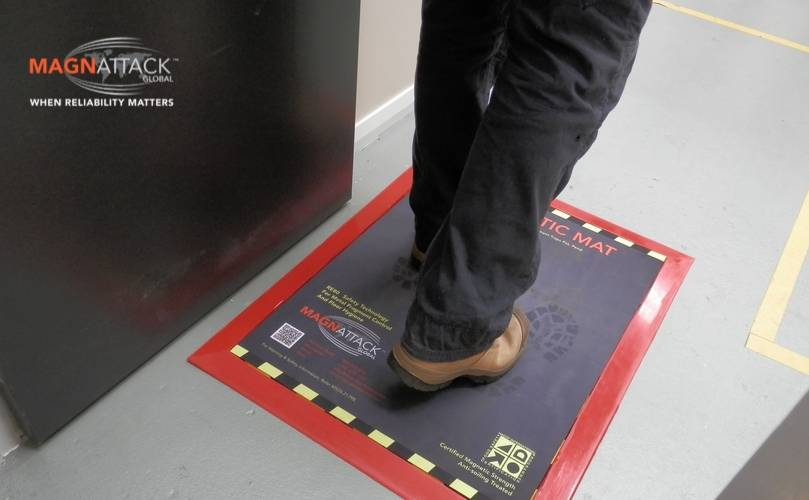 The Magnattack® Mag-Stride® Magnetic Mat successfully retains metal fragments from shoes