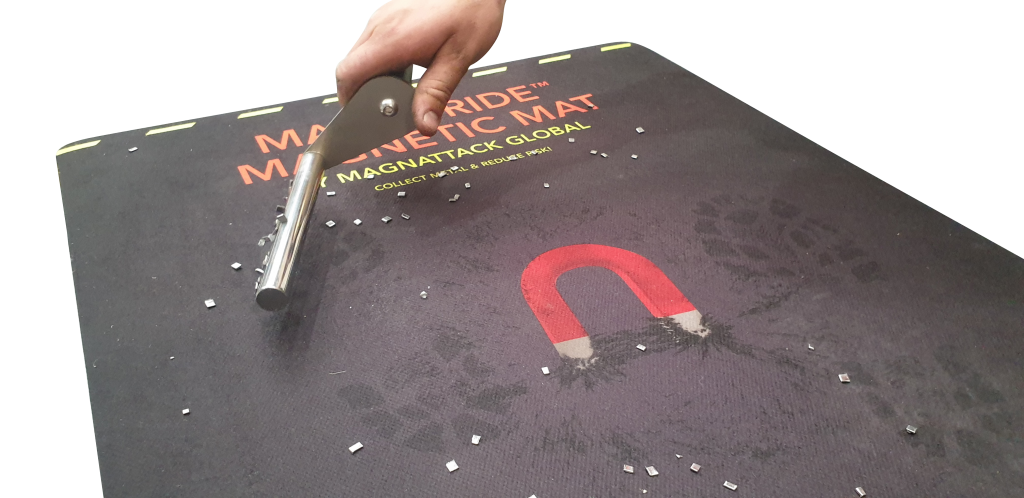 The magnetic mat is especially easy to clean with the Magnetic Mat Roller.